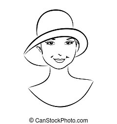 vintage girl face in hat