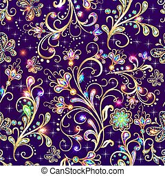 Illustration vintage seamless background  with gold flower pattern butterflies and precious stones.