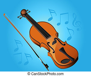violin bow and music on turn blue background - illustration...