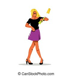 illustration., virtuoso, vector, cócteles, caricatura, bar., bartender.