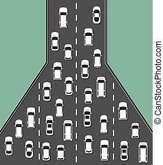 illustration., vista, cima, marmellata, concetto, traffico