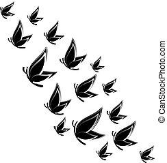 illustration., vliegen, achtergrond., vlinder, vector, witte