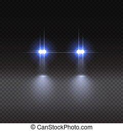 illustration., voiture, effet, arrière-plan., vecteur, lumière, transparent