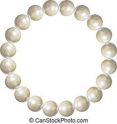 illustration., voorwerp, armband, vrijstaand, parel, vector, witte , 3d, achtergrond, juwelen