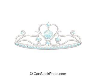 illustration., vorm, reeks, bladeren, vector, kleine, diamonds., prinsessenkroon, zilver