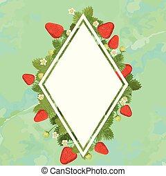 illustration., vorm, ruimte, diamant, frame, text., aardbei, vector, groene, achtergrond.