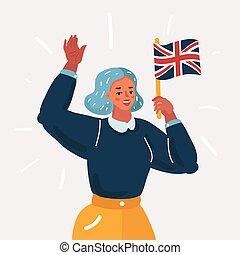 illustration, voyager, dessin animé, étudier, ou, anglaise