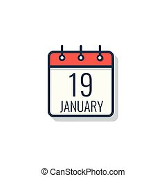 illustration., vrijstaand, dag, achtergrond., vector, witte , kalender, pictogram