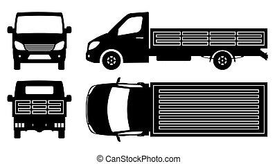 illustration, vue, camion, sommet, côté, dos, plat, vecteur, silhouette, devant