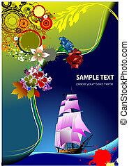 illustration., wóz, tło., wektor, zaproszenie, kwiatowy