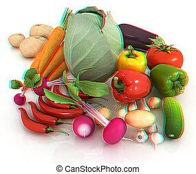 illustration., warzywa, leaves., anaglyph., zobaczcie, zielony, 3d, świeży, 3d., prospekt, red/cyan, okulary