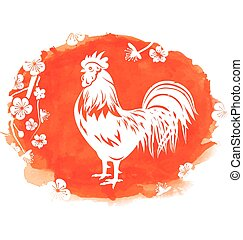 Watercolor Background with Rooster, Zodiac Symbol of 2017 Year