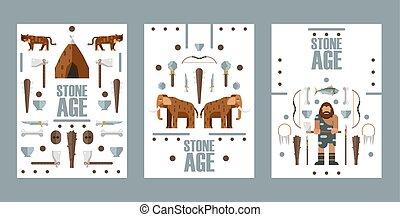 illustration., weapons., primitief, boek, paleolithic,...