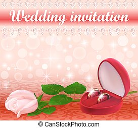 illustration wedding background with a white rose and rings