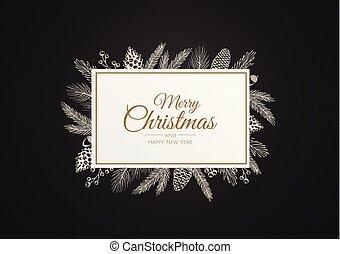 illustration., weihnachten, botanik, plants., rahmen, winter