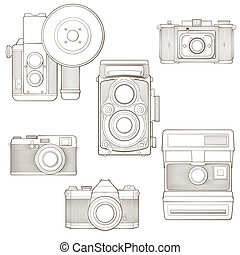illustration., weinlese, set., cameras, vektor, foto