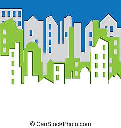 illustration., wektor, cityscape.