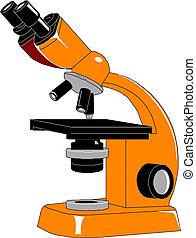 illustration., wektor, mikroskop