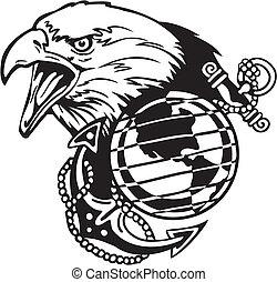 illustration., -, wektor, projektować, vinyl-ready, wojskowy