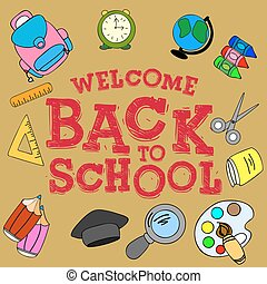 "Illustration ""welcome back to school"", School set"