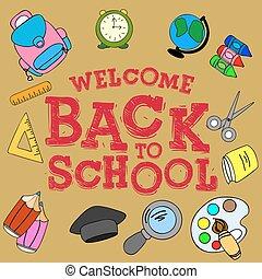 "Illustration ""welcome back to school"", School set"