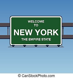 Illustration - Welcome to New York USA Interstate Highway Sign in a Blue Sky