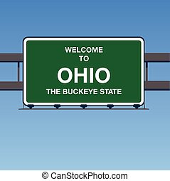 Illustration - Welcome to Ohio USA Interstate Highway Sign...