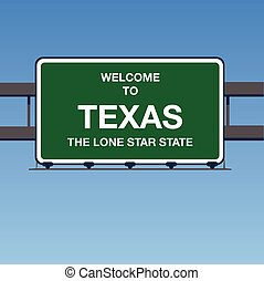 Illustration - Welcome to Texas USA Interstate Highway Sign in a Blue Sky