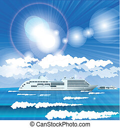 liner - Illustration, white seagoing liner in turn blue sea