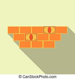 illustration., whitish, 壁, お金, 印, バックグラウンド。, vector., れんが, アイコン