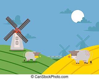 illustration., wiejski, prospekt, tło, okolica, wektor, ...