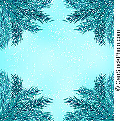 Illustration Winter Nature Background with Fir Branches and Snow Fall - Vector