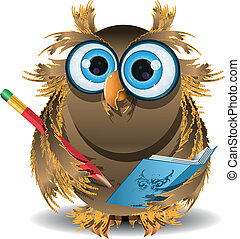 owl secretary - illustration wise owl secretary with blue...