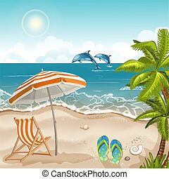 Illustration with a beach umbrella and chair