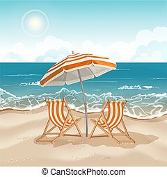 Illustration with a beach umbrella and chairs