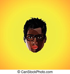illustration with a black female face with eyeglasses. polygonal style