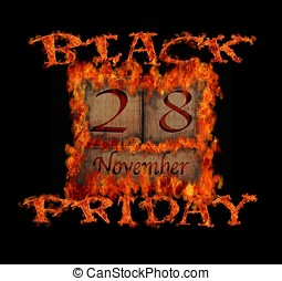 Black Friday November 28. - Illustration with a burning ...