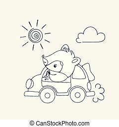 Illustration with a cheerful racoon in car