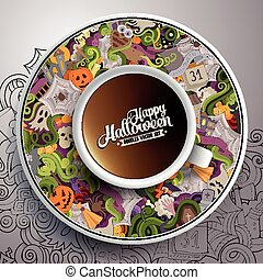 illustration with a Cup of coffee Halloween