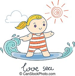 Illustration with a Kid on a Surfboard Riding a Wave