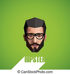 illustration with a male face in origami style. hipster