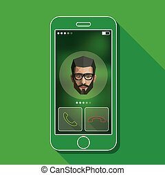 Illustration with a mobile phone conversation. Gadget and male face in flat style