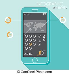 Illustration with a mobile phone. Set of infographic elements in flat style with the world map, medical signs and a long shadow
