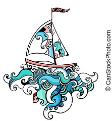 sailboat - illustration with a sailboat