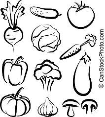 Illustration with a set of vegetables
