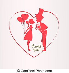 Illustration with a silhouette of a heart, a boy in a hat and a girl with balloons,