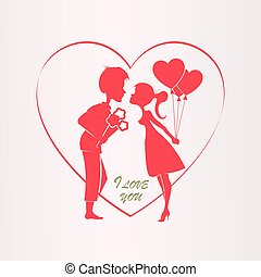 Illustration with a silhouette of a heart, a boy with flowers and a girl with balloons.