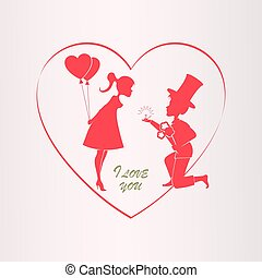 Illustration with a silhouette of the heart, a boy in a hat on his knees and a girl with balloons,