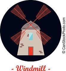 Illustration with a windmill.