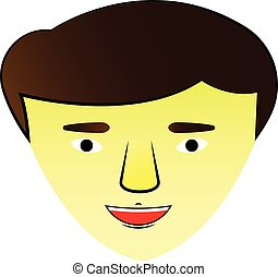 illustration with an Asian guy face. icon. Vector graphics,